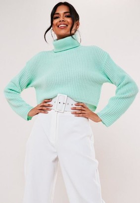 Missguided Mint Roll Neck Cropped Jumper