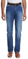 Kiton Lightweight Denim Straight-Leg Jeans, Medium Wash Blue