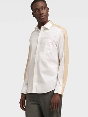 DKNY Men's Long Sleeve Color Block Shirt - White Combo - Size XS
