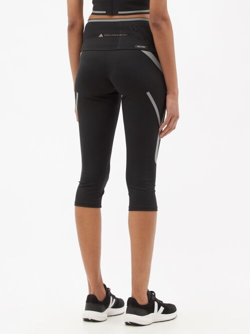 Thumbnail for your product : adidas by Stella McCartney Truepace Recycled Fibre-blend Cropped Leggings - Black