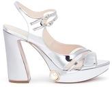 Nicholas Kirkwood Estella' faux pearl mirror leather platform sandals