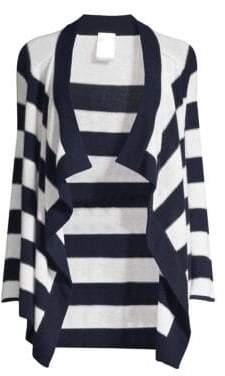 TSE x SFA x SFA Women's Lurex& Cashmere-Blend Striped Draped Cardigan - White Navy - Size XS