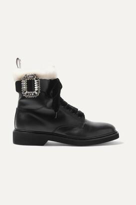 Roger Vivier Ranger Shearling-lined Crystal-embellished Leather Ankle Boots - Black