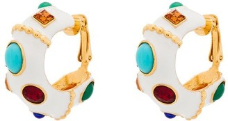 Kenneth Jay Lane Gemstone Hoop Clip Earrings