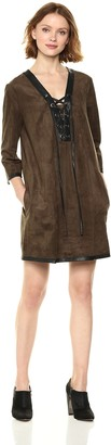 BCBGMAXAZRIA Azria Women's Yousra Suede Knit Dress with Faux Leather Tie Front