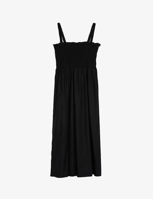 Topshop Shirred cotton-poplin midi dress