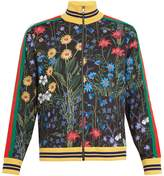 Gucci New Flora-print Web-trimmed jersey jacket