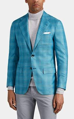 Kiton Men's KB Plaid Cashmere-Blend Two-Button Sportcoat - Turquoise