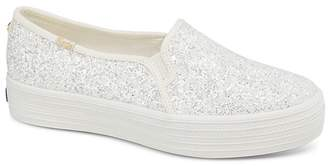 Keds x kate spade new york Women's Triple Decker Glitter Canvas Slip-On Sneakers