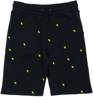 Marcelo Burlon County of Milan All Over Logo Cotton Sweat Shorts