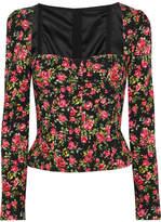 Dolce & Gabbana Roseline Floral-print Crepe Bustier Top