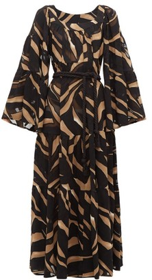 Lisa Marie Fernandez Peasant Abstract Print Tiered Crepe Maxi Dress - Womens - Brown Print