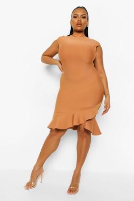boohoo Plus Bandage Sculpt Ruffle Hem Mini Dress