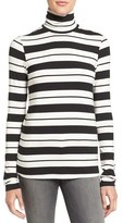 Amour Vert Women's 'Flannery' Stripe Stretch Jersey Turtleneck