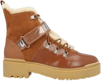 Valentino VLogo Shearling Combat Boots