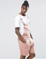 Asos Slim Short Dungarees In Pink