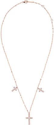 Lana 14k Rose Gold Mega Flawless 3-Cross Necklace w/ Diamonds