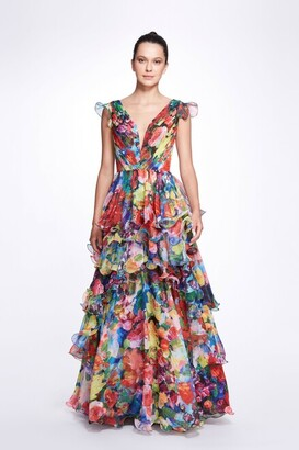Marchesa Notte Sleeveless V-Neck Tiered Printed Chiffon Gown