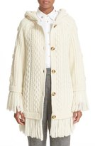 RED Valentino Fringe Trim Hooded Wool Sweater