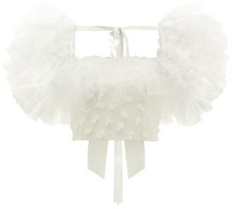Rodarte Tulle-sleeve Bow-applique Cropped Top - Womens - White