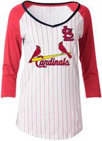 5th & Ocean Women's St. Louis Cardinals Pinstripe Glitter Raglan T-Shirt