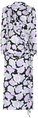 Miu Miu Floral jacquard silk midi dress