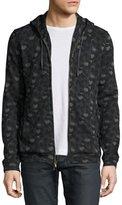John Varvatos Camo-Print Zip-Front Hoodie, Black