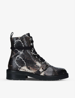 AllSaints Donita snakeskin-embossed leather boots