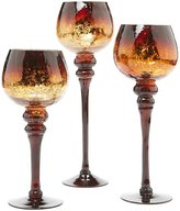 Home Essentials Chocolate Charisma Crackle Glass Hurricanes, Set of 3