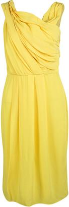 HUGO BOSS Boss by Yellow Chiffon Sleeveless Drapira Dress S