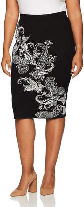Rachel Roy Women's Plus Size Paisley Fitted Skirt