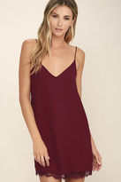 LuLu*s Clock Strikes Twelve Wine Red Lace Slip Dress