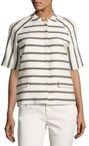 Lafayette 148 New York Ethan Half-Sleeve Snap-Front Striped Jacket, Black/White