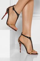 Christian Louboutin Athena Alta 100 leopard-print and patent-leather sandals