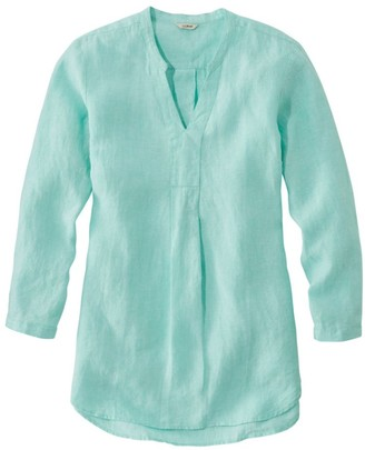 L.L. Bean Women's Premium Washable Linen Shirt, Splitneck Tunic Long-Sleeve