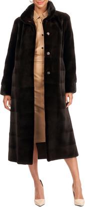 Gorski Reversible Sheared Mink Fur Horizontal Short Coat W/ Short Nap Mink Collar And Cuffs