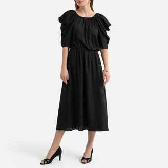 La Redoute Collections Satin Midi Dress with Elbow Length Puff Sleeves