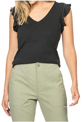 Lilla P Ruffle Sleeve V-Neck Top in Fine Rib (Black) Women's Clothing