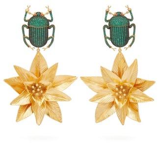 BEGÜM KHAN Pharoah Lotus Gold-plated Clip Earrings - Green
