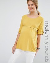 Mama Licious Mama.licious Mamalicious Woven Top With D Ring Detail