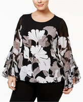 Alfani Plus Size Ruffle-Sleeve Blouson Top, Only at Macy's