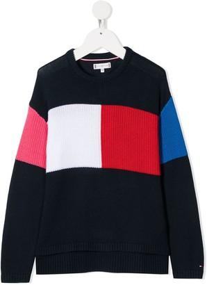 Tommy Hilfiger Junior Crew Neck Colour-Blocker Sweater