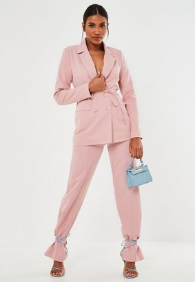 Missguided Pink Co Ord Seam Front Straight Leg Pants