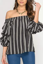 She + Sky Off-The-Shoulder Stripped Blouse