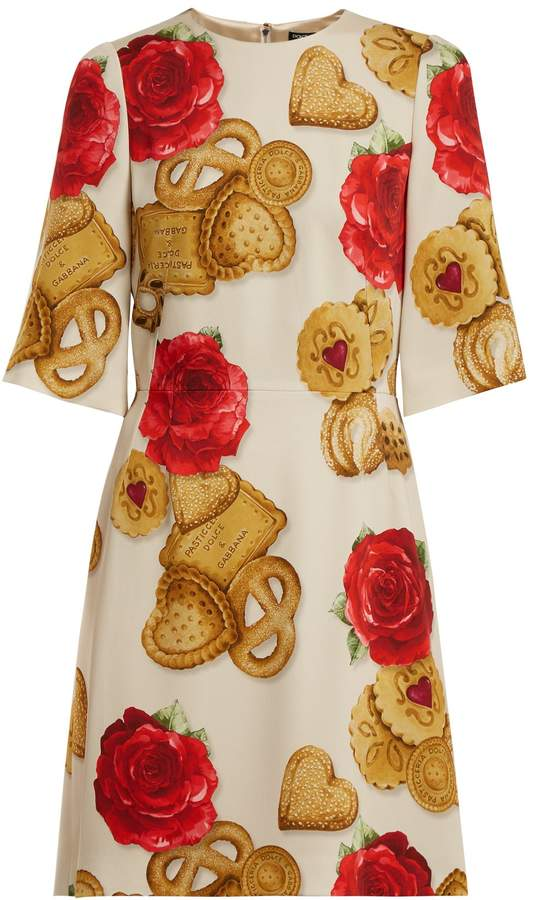 Dolce & Gabbana Biscotti and rose-print cady dress
