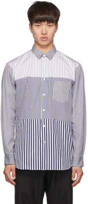 Comme des Garcons Navy and White Striped Poplin Yarn-Dyed Shirt