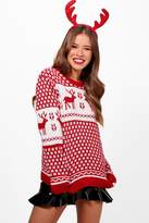 boohoo Petite Tammy Red Fairisle Christmas Jumper