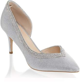Linzi Paradox London Page Silver Low Heel Open Court Shoes