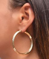 Golden Moon Women's Earrings Gold - 14k Gold-Plated Feather-Textured Hoop Earrings