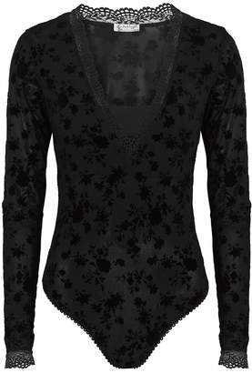 Free People Babes In Bandeaus Black Lace Bodysuit